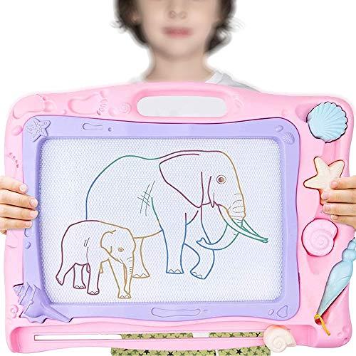 YAWJ Magnetische Maltafel für Kinder, Reisegröße Magnettafel Zaubertafel Zaubermaltafel Zeichentafel Zeichenbrett mit 3 Magnetische Stempel und Magnetschreibstift Kindergeschenk (Color : Pink)