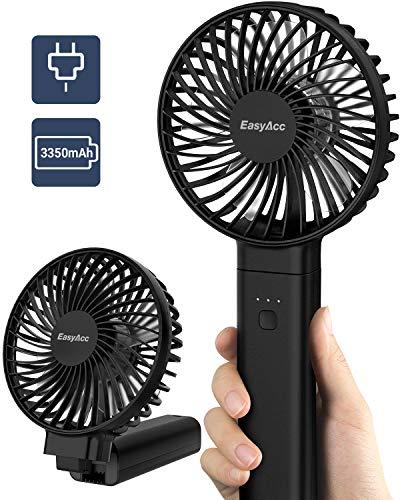 EasyAcc Handventilator,3350mAh USB Ventilator/Tragbarer Mini Lüfter Elektrischer - Aufladbarem Batterie Faltbar Kompatibel mit Laptop Multi Port Steckdose für Reisen und Zuhause,Schwarz