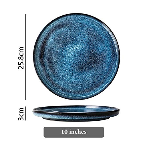 Platos Starry Blue Placa De Cerámica Sirviendo Bandeja Redonda Ensalada Decorativa Sushi Pasta Placa De Porcelana Vajilla Conjuntos De Cena Vajilla (Color : 10 inch)