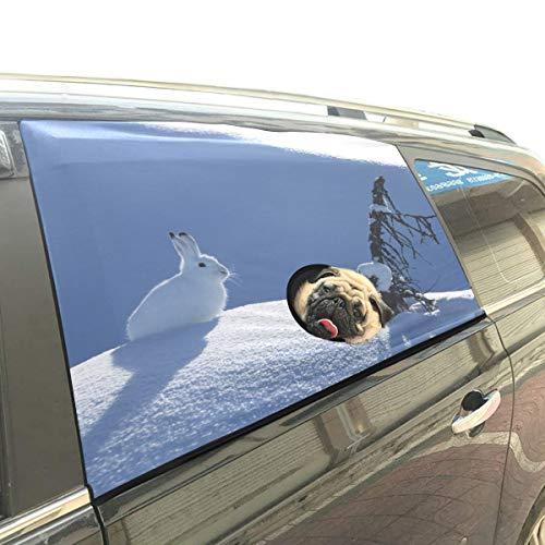 Weiß Little Snow Rabbit Faltbarer Hund Sicherheit Auto Gedruckt Fenster Zaun Vorhang Barrieren Protector Für Baby Kind Einstellbar Flexible Sonnenschutzabdeckung Universal Fit Für SUV