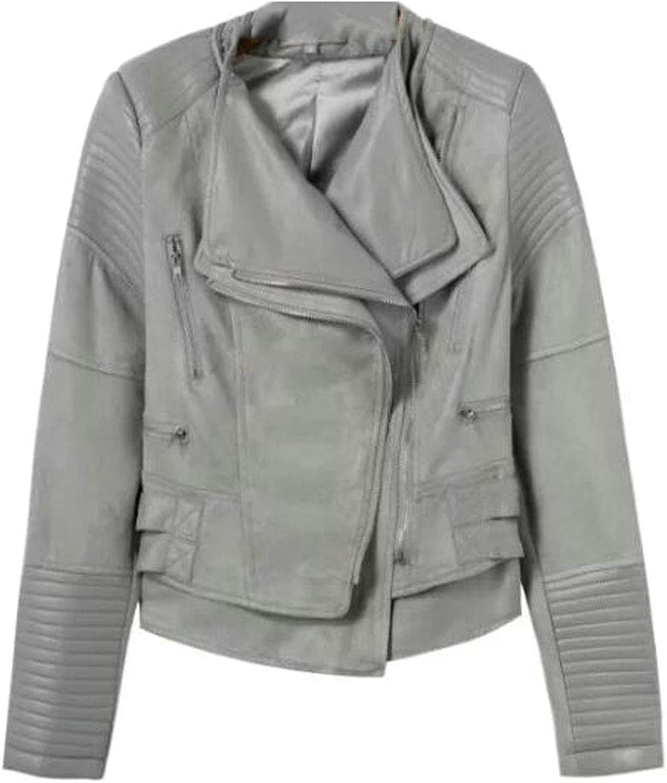 SELX Women ZipFront Moto Leather Lapel Faux Slimming Stitch Jacket