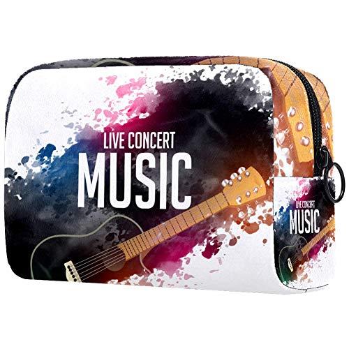 Reise-Make-up-Tasche mit bemalter Gitarre, Kulturbeutel, tragbar, Kosmetiktasche mit Reißverschluss für Damen