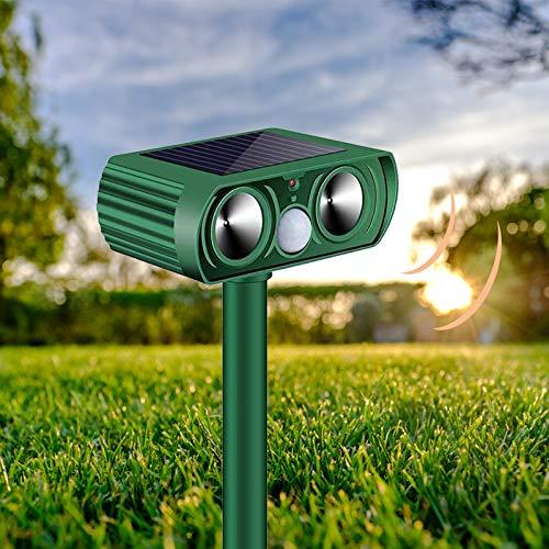 Solar Powered Cat Repellent for Outdoor SZHTFX Ultrasonic Cat Scarer for Gardens with Waterproof Pet Deterrent for Gardens Flashing Light Motion Sensor Fox Deterrents for Fox, Dog, Birds