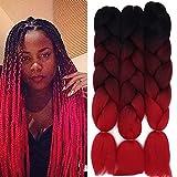 Cybelleza 3 piezas / 300 g Extensiones de cabello trenzado de 24 '' Jumbo Braids Sintético Kanekalon Crochet Hair Afro Box Trenza resistente al calor (Negro&Vino rojo&Rojo)