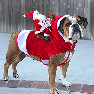JK Running Santa Christmas Dog Costumes, Santa Claus Riding on Pet Suit Dressing up Clothing for Small Large Dogs Cats Clothes Pet Outfit