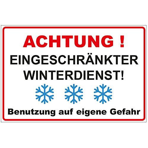 Schild Achtung - Eingeschränkter Winterdienst aus Alu/Dibond 300x200 mm - 3 mm stark