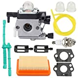 Highmoor C1Q-S202A Carburetor Replacement Carb + Tune Up Kit Air Filter for Sthil MM55 MM55C Trimmer Parts Zama C1Q-S202 Replaces 4601-120-0600