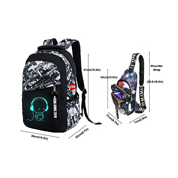 5142hrt0B5L. SS600  - UMYMAYDO1 DJ Luminous Mochila, Unisex Schoolbag Mochila para portátil Bolsa Fresca para Adolescentes con USB Puerto…