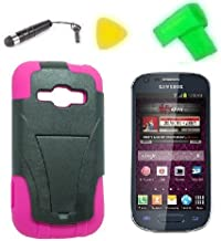 Heavy Duty Hybrid Phone Cover Case Cell Phone Accessory + Extreme Band + Stylus Pen + LCD Screen Protector + Yellow Pry Tool For Samsung Galaxy Ring SPH-M840 M840 Galaxy Prevail 2 (T-Stand Black Pink)
