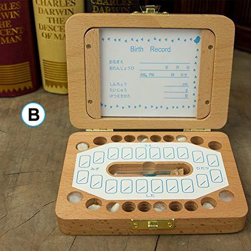 Crazyfly Caja de dientes caducifolios de madera para almacenamiento de dientes de bebé con ranura para fotos, organizador de recuerdos para el cabello
