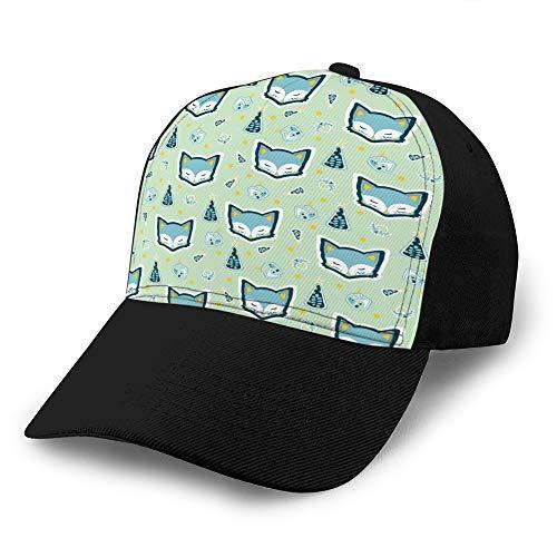 Sombrero Ajustable Gorra de béisbol de Fondo Plano Lindo Zorro árbol de Navidad casa de Patrones sin Fisuras Gorra Snapback
