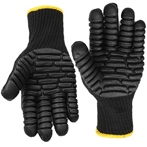 Anti-Vibration Work Gloves, Superior Grip Shock Absorbing Impact Reducing safety Gloves - Large