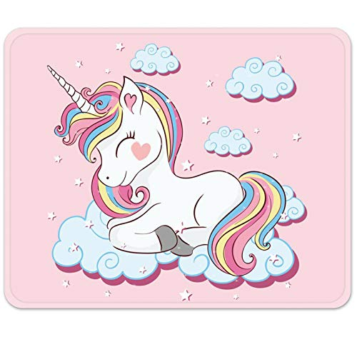 Britimes Gaming Mouse Pad, Cute Colorful Unicorn for Kid Square Mousepads Portable Non-Slip Rubber Base Office Decor Wireless Mouse Pad for Gaming, Working, Studying