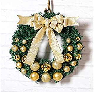 Christmas Party Small Ball Christmas Garland Door Hanging Ornaments Room Christmas Tree Pendants for Decoration(Golden)