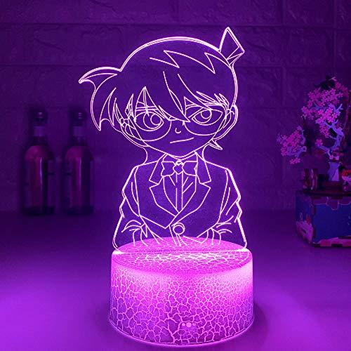 Anime 3D luz noche acrílico ilusión lámpara detective Conan diseño control remoto táctil USB niños sueño regalo de cumpleaños interior decoraciones creativas
