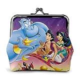 Aladdin Magic Lamp Structure Lines Explosion Pop Monedero de cuero para mujer con cierre de beso pequeño monedero embrague llavero bolsa de auriculares multifunción