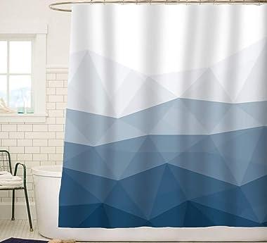 Sunlit Designer Shower Curtain,Popular Shower Curtain, Ombre Blue Fabric Shower Curtains for Bathroom Decor, Contemporary Bat