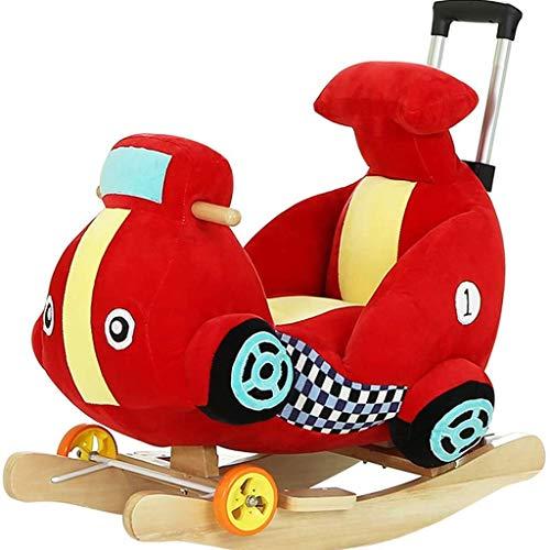 DIAOD Mecedora caballo mecedora de los caballos de juguete de los niños del bebé de madera del carro del caballo del bebé Putter del caballo de oscilación del bebé Edad regalo Niño relleno Rid