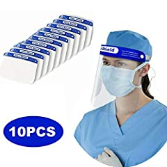 This face shields with eye shield can be recycled after disinfection. The plastic face shields is made of super transparent recyclable PET, lightweight, clear vision, fast and easy to wear This reusable face shields a large area from the eyebrows to ...