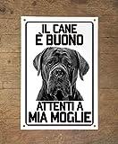 Lovelytiles Cane Corso Il Cane è Buono attenti a mia Moglie Targa in Metallo (15X20)