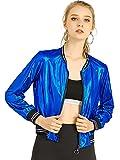Allegra K Women's Sparkle Holographic Shimmering Metallic Lightweight Shiny Bomber Jacket Large Blue
