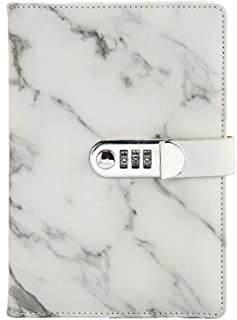 Whthteey Marble Journal Writing Notebooks with Combination Lock Personal Travel Diary Office Notepad (Black)
