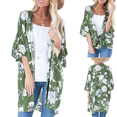 YYH Vrouwen Chiffon Kimono Cardigans- Losse sjaal Cover Blouse voor Dames Bloemenprint Halve mouw Open Front Cardigan Zomer Beach Cover Up M Groen