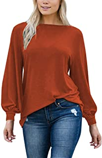 Women's T-Shirt, Spring and Autumn Fashion Casual T-Shirt Solid Color Round Neck Lantern Long Sleeve Loose Pullover Top,b,XXL