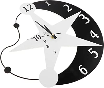 Fenteer Silent Sweep Wall Clock Novelty Numeral Decor Kids Room Decor Time Watch Easy Read 12H