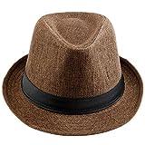 KYEYGWO Panama Fedora Sombreros para Hombres Mujer, Braid Straw Brim Gorra Jazz Gorra Trilby Marrón 04-Marrón-Braid Taille unique