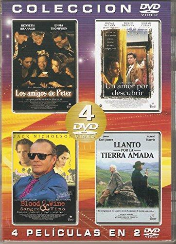 COLECCIÓN 4 PELÍCULAS EN 2 DVD /UN AMOR POR DESCUBRIR /SANGRE Y VINO / LOS AMIGOS DE PETER / LLANTO POR LA TIERRA AMADO