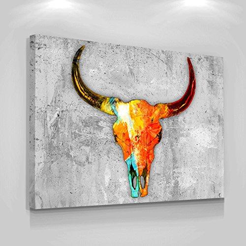 Lienzo con diseño de calavera de toro, decoración de pared de vaca, decoración de oficina, arte moderno, inspiración, cuernos de toro, esqueleto pop, cultura inspiradora para el hogar