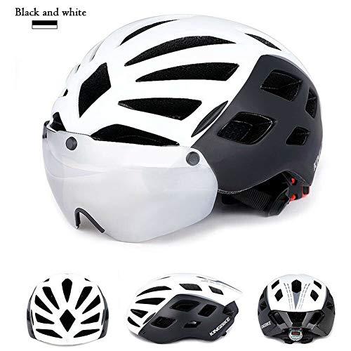 MINASAN Casco de Ciclismo Ultraligero Desmontable, Tres Modos de luz Trasera, Seguridad para Bicicleta de Carretera, Color Negro y Blanco, tamaño Large