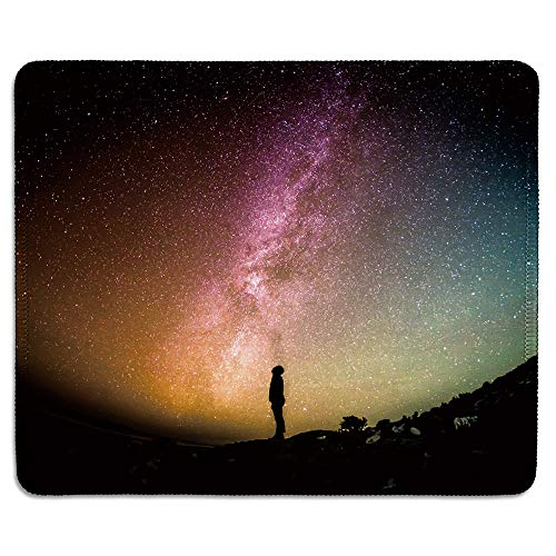 dealzEpic - Art Mousepad - Natural Rubber Mouse Pad Printed with Man Looking up into The Universe Under Night Sky - Stitched Edges - 9.5x7.9 inches