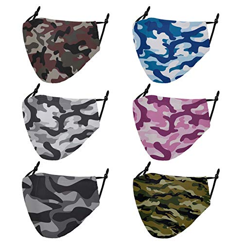 Cloth Face Masks Reusable Washable - Adjustable Cotton Masks Printed Face Covering Unisex Adult Plain Safety Masks Dust Face Mask for Women ,Men - 6 PCS - Camouflage