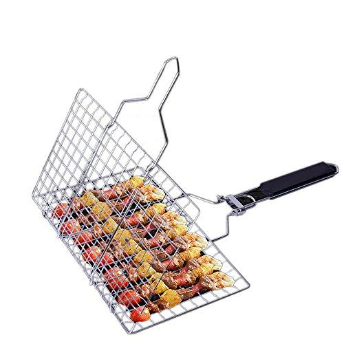 OuChang Flip Easy barbacoa parrilla cesta grande portátil plegable antiadherente parrilla de...