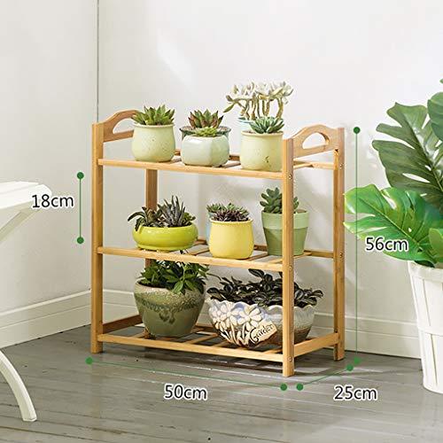 Support de fleurs Bambou Au sol Multicouches Simple balcon intérieur Salon Porte-casseroles Charnue Etagère 50cm / 70cm (taille : 50 * 25 * 56cm)