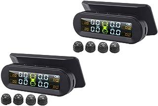 Kesoto 2 monitores de temperatura de pressão de pneu, detecção de 4 sensores externos solares