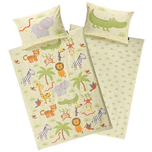 Aminata kids Dschungel Bettwäsche 100 x 135 cm + 40 x 60 cm aus Baumwolle mit Reißverschluss, unsere Kinderbettwäsche mit Safari-Motiv ist weich und kuschelig, bunt, gelb