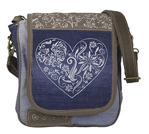 Domelo Dirndl Tasche Umhängetasche Oktoberfest Damen Accessories klein Trachtentasche mit Herz Kleine Geschenke für Teenager Mädchen Crossbody Bag Vintage Retro Handtasche aus Canvas&Jeans blau braun