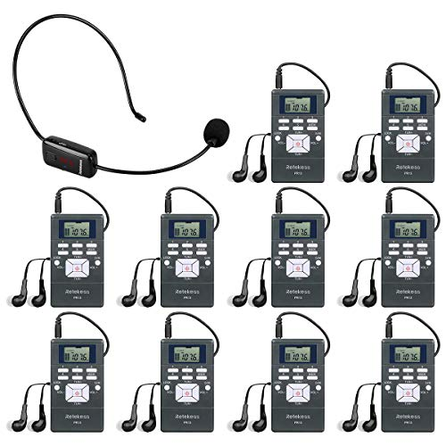 Retekess Portable FM Transmitter Headset, Wireless Tour Guide System, 98ft Transmission, with 1 TR503 Transmitter and 10 PR13 FM Receivers for Church Translation, Factory Museum Tour