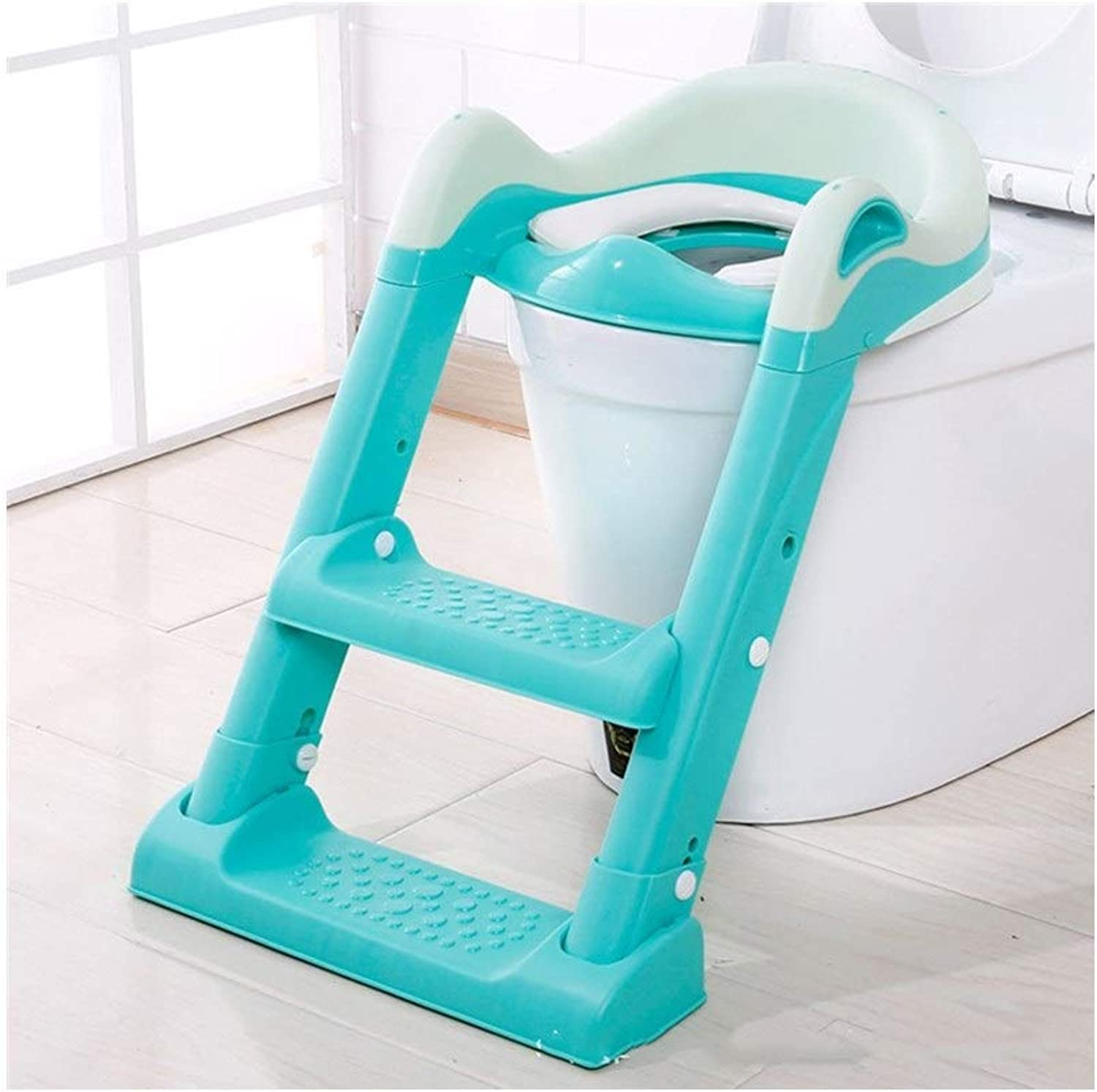 Stool Potty Training Toilet Seat with Non-Slip Ladder, Baby Toddler Kid Toilet Trainer Potty Chair Trainer with Step Stool Ladder, for Boy and Girl (color   Green)