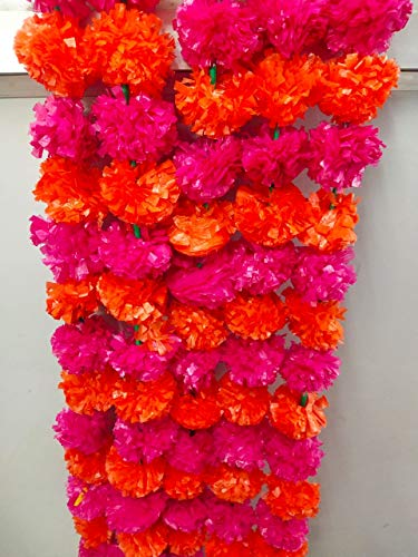 Artificial Dark Orange and Pink Marigold Flower Garlands 5 Feet Long for Parties Indian Weddings Indian Theme Decorations Home Decoration Photo Prop Diwali Indian Festival