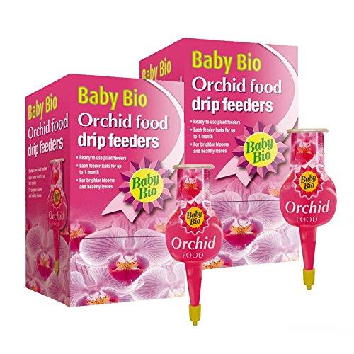 Baby Bio® - Alimentadores para orquídeas por goteo (4 paquetes de 40 ml, fácil alimentación para plantas, 1 alimentador de goteo dura hasta 1 mes (2 cajas = 8 alimentadores individuales)