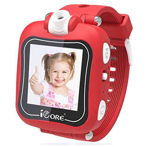 Kids Smart Watch, Rotatable Camera Smart Watch for Kids, Built-in Games Watches, Best Smartwatch Christmas Birthday Gifts for Boys Girls Ages 4-12 (Red)