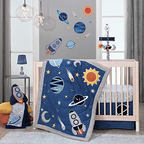 Lambs & Ivy Milky Way Space Galaxy 4-Piece Baby Nursery Crib Bedding Set -...