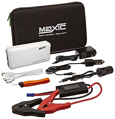 Maxic White Car Emergency Jump Starter with Power Bank for Phones and Portable Devices (Rechargeable, LED Readout Protection, LiPo Battery, Flashlight)