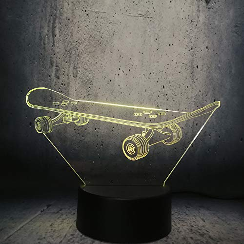 Skateboarding 3D-lamp, 7 kleurverandering, met afstandsbediening of touch, beste cadeaus voor kinderen en fans