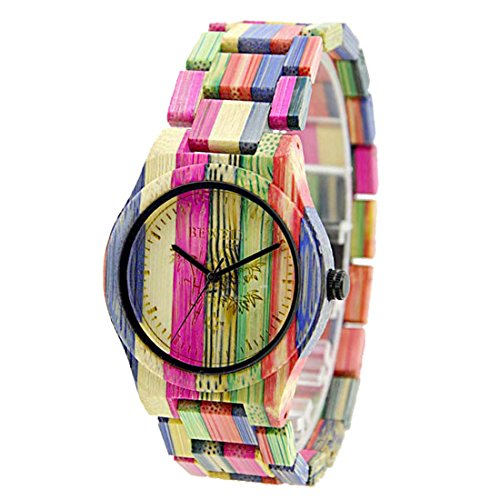 BEWELL Natürliche Hölzerne Uhren Für Damen Herren Casual Uhr Analog Quarzwerk Armbanduhr Bunte Damenuhr mit Mischfarbe Bamboo Armband(Medium mixed color 1)
