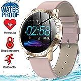 MyTECH Smart Watch Fitness Tracker Monitor de Presión Arterial y Frecuencia Cardíaca Resistente al Agua Regalo para Hombres Mujeres Reloj Deportivo Inteligente Compatible Android e iOS (Dorado Piel)